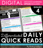 Daily Reading Warm-Ups {Differentiated} 4th GRADE with DIS