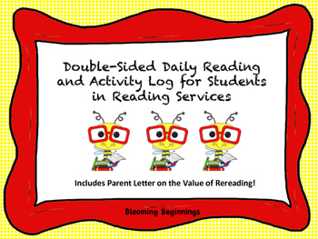 Daily Reading and Activity Log for Reading Service Students