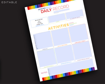 Daily Record Babysitter Daycare Group, Development Diary || JPG + Editable PDF
