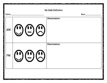 Daily Reflection Behavior Sheet
