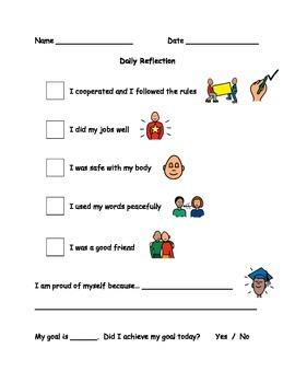Daily Reflection Behaviour Checklist
