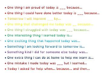 Daily Reflection Sentence Stems