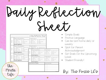 Daily Reflection Sheet