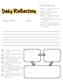 Daily Reflection Sheet Template