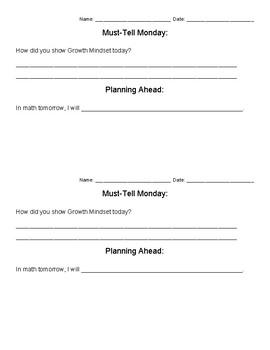 Daily Reflection Sheets