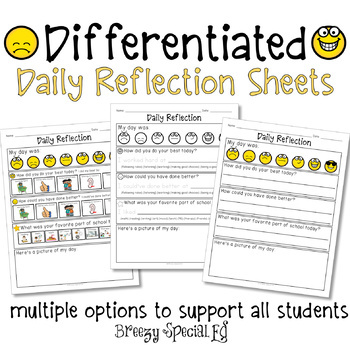 Daily Reflection Sheets for Special Education Students