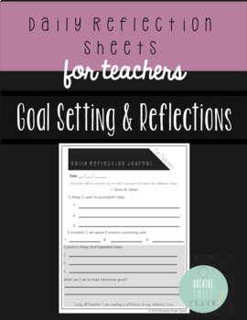Daily Reflection Sheets for Teachers