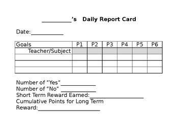 Daily Report Card By Subject And Period By Erin Trytten Tpt