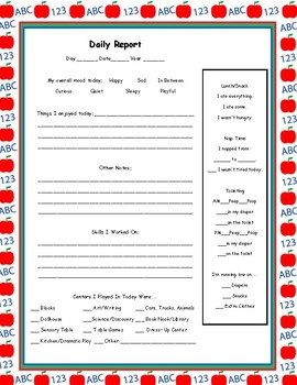 Daily Report For for Toddlers/Nursery