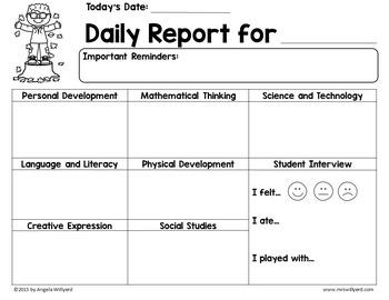 Daily Report Template Parent-Teacher Communication for November