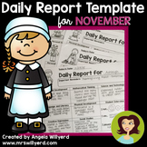 Daily Report Template Parent-Teacher Communication for November