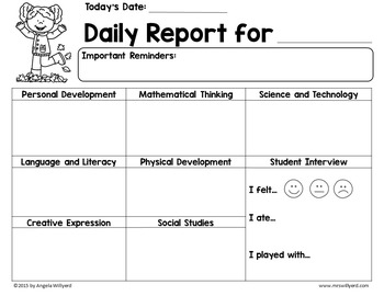 Daily Report Template Parent-Teacher Communication for October