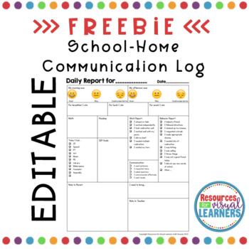 Daily Report for School-Home Communication EDITABLE