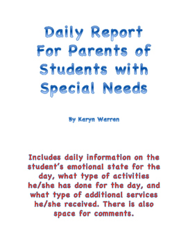 Daily Report for Special Education Students