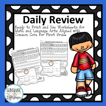 Morning Work Daily Review Activities, Math,Time, Place Value and Language Arts