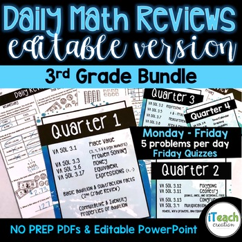 Daily Review GROWING BUNDLE 3rd Grade EDITABLE