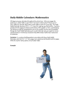 Daily Riddle Calendar numbers