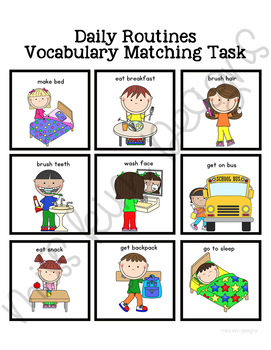 Daily Routines Vocabulary Folder Game for Students with Autism & Special Needs