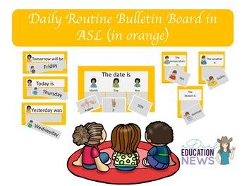 Daily Routine Bulletin Board in ASL-Orange