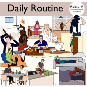 Daily Routine Clip Art Set
