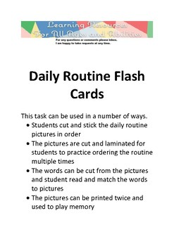 Daily Routine Flash Cards