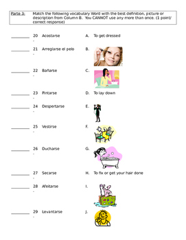 Daily Routine/Reflexive Verb Vocab Practice Packet