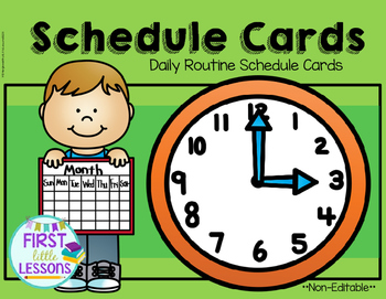 Daily Routine Schedule Cards: Green