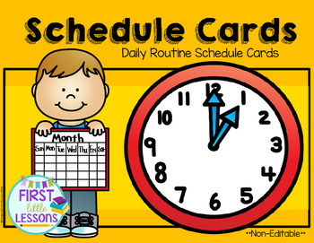 Daily Routine Schedule Cards: OrangeYellow