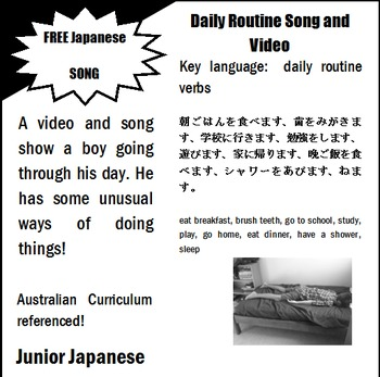 Daily Routine Song and Video and ACARA descriptors