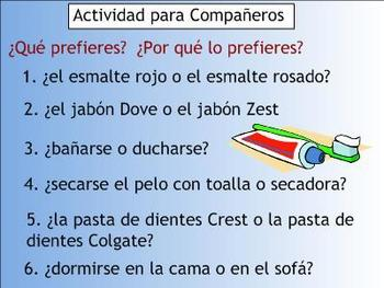 Daily Routine Spanish SMART Board Lesson