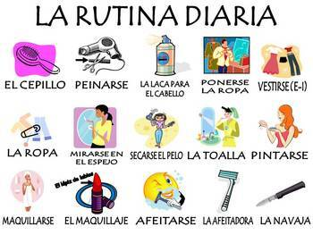 Daily Routine Spanish Vocab Activities & Games Unit (La Rutina Diaria)