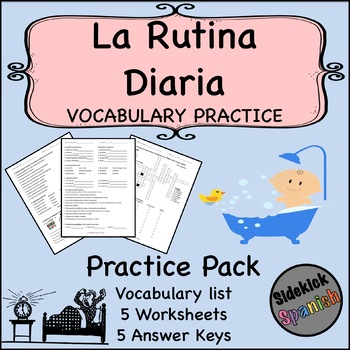 Daily Routine Spanish Vocabulary Worksheets (Así Se Dice Lev 1, Chapter 11)