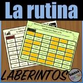Daily Routine Vocabulary Mazes in Spanish