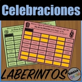 Celebrations Vocabulary Mazes in Spanish