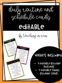 Daily Routine and Schedule Editable Cards