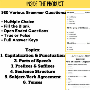 ELA Grammar Review Bundle | Assessments by Standard | Grade 3-4