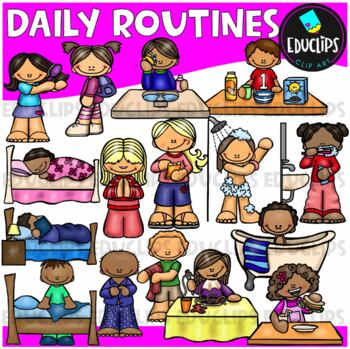Daily Routines Clip Art Bundle {Educlips Clipart}