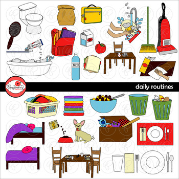 Daily Routines Clipart by Poppydreamz