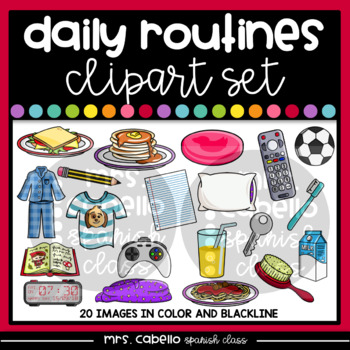 Daily Routines Elements Clipart Set