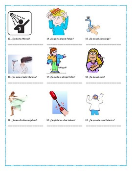 Daily Routines Vocabulary / Reflexive Verbs Practice (#3)