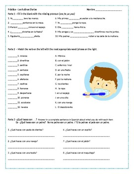 Daily Routines Vocabulary and Reflexive Verbs Practice (#1)