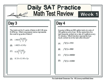 Daily SAT Math Practice Week 1: Linear Equations and Functions