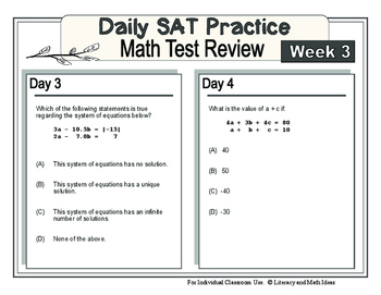 Daily SAT Math Practice Week 3: Systems of Equations