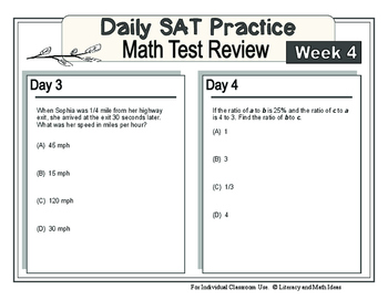 Daily SAT Math Practice Week 4: Ratios Units Proportions and Percentages