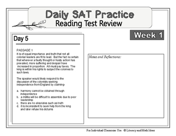 Daily SAT Reading Practice Week 1