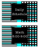 Daily Schedule Black White Teal