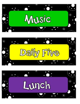 Daily Schedule- Black and White Polka Dots