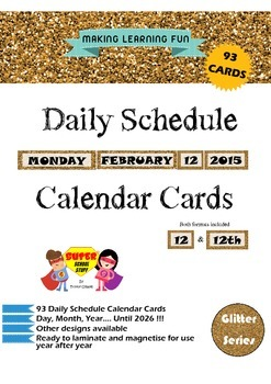 Daily Schedule Calendar Card-93pc-Glitter-Gold