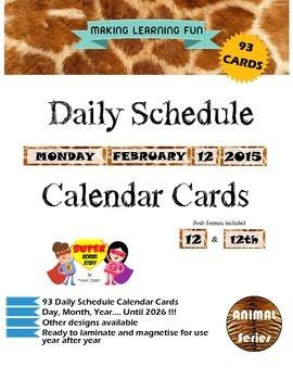 Daily Schedule Calendar Cards-93pc-Giraffe