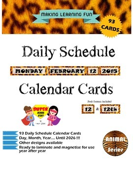 Daily Schedule Calendar Cards-93pc-Leopard